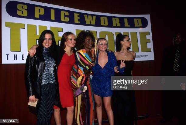 Photo of SPICE GIRLS Group portrait LR Melanie Chisholm Geri Halliwell Melanie Brown Emma Bunton Victoria Adams at the premiere of Spiceworld The...