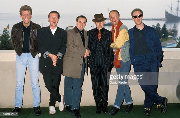 MIDEM Photo of SQUEEZE LR Gilson Lavis Glenn Tilbrook Chris Difford Jools Holland Keith Wilkinson Andy Metcalfe posed group shot