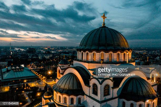 a photo of st. sava temple in belgrade, serbia, taken from a drone in the early morning - belgrade serbia stock pictures, royalty-free photos & images