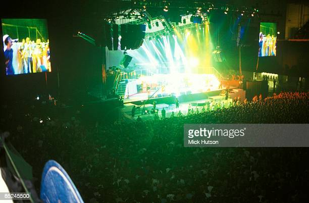 Photo of STAGE and OASIS and CONCERT and CROWDS, wide shot of stage, showing audience crowds