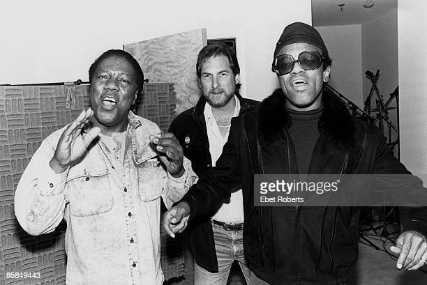 Photo of Steve CROPPER and Don COVAY and Bobby WOMACK; L-R Don Covay, Steve Cropper & Bobby Womack at Krypton Studios NYC