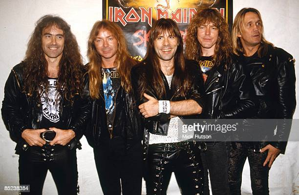 Photo of Steve HARRIS and Bruce DICKINSON and Dave MURRAY and IRON MAIDEN and Janick GERS and Nicko McBRAIN LR Steve Harris Dave Murray Bruce...