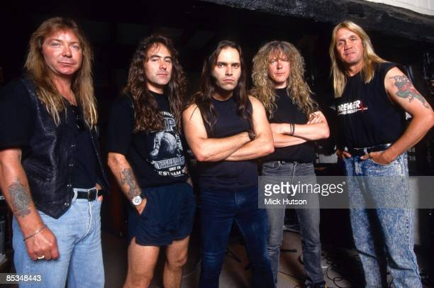 STUDIOS Photo of Steve HARRIS and Dave MURRAY and Janick GERS and Nicko McBRAIN and IRON MAIDEN and Blaze BAYLEY Posed group portrait in the...