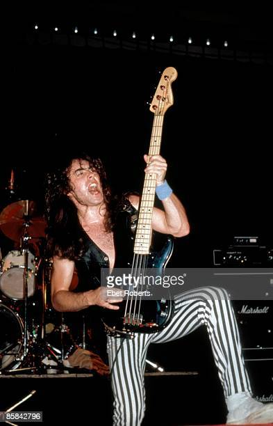 Photo of Steve HARRIS and IRON MAIDEN Steve Harris playing Fender Precision Bass wearing stripy spandex trousers performing live onstage on Killers...