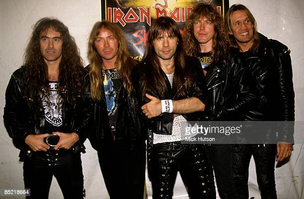 Photo of Steve HARRIS and Nicko McBRAIN and Janick GERS and Dave MURRAY and Bruce DICKINSON and IRON MAIDEN LR Steve Harris Dave Murray Bruce...