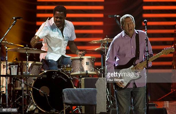 AHOY Photo of Steve JORDAN and Eric CLAPTON LR Steve Jordan Eric Clapton performing live onstage