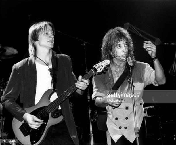 Photo of Steve MORSE and KANSAS L R Steve Morse and John Elefante performing live on stage