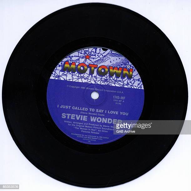 Photo of Stevie WONDER and MOTOWN RECORDS Motown single label for 'I Just Called to Say I Love You' by Stevie Wonder