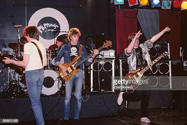 LOUNGE Photo of STIFF LITTLE FINGERS and Henry CLUNEY and Jake BURNS and Ali McMORDIE and Dolphin TAYLOR Group performing on stage LR Jake Burns...