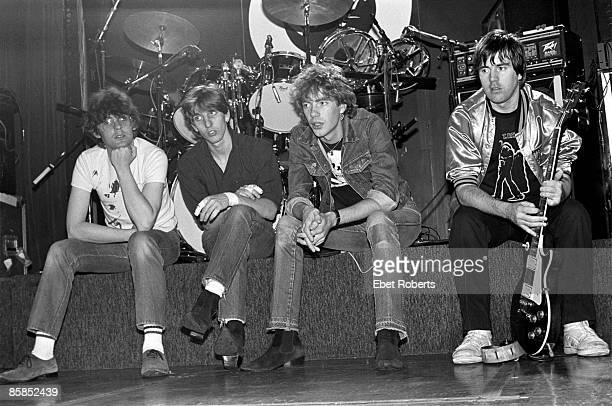 LOUNGE Photo of STIFF LITTLE FINGERS and Henry CLUNEY and Jake BURNS and Ali McMORDIE and Dolphin TAYLOR Group portrait on stage LR Jake Burns...
