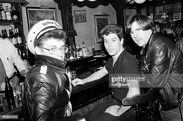 Photo of STIFF LITTLE FINGERS and Jake BURNS and Jim REILLY and Henry CLUNEY LR Jake Burns Jim Reilly and Henry Cluney inside Molly Malone bar