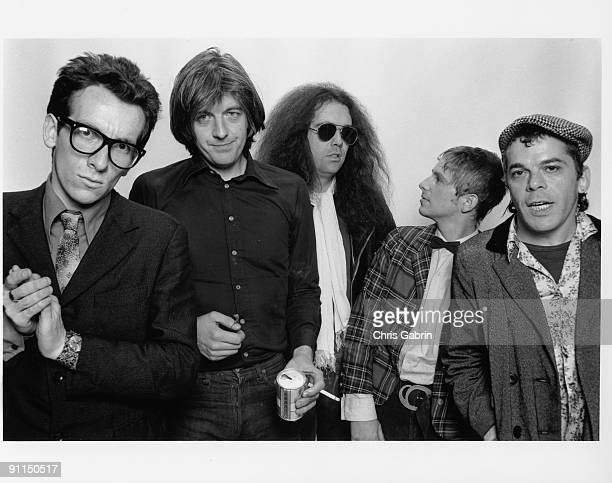 Photo of STIFF RECORDS L to R Elvis Costello Nick Lowe Larry Wallis Wreckless Eric Ian Dury