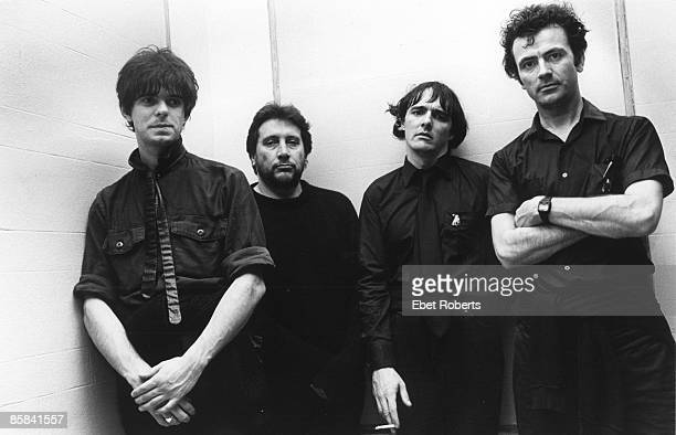 Photo of STRANGLERS and JJ BURNEL and Jet BLACK and Dave GREENFIELD and Hugh CORNWELL; Posed group portrait L-R Jean Jacques Burnel, Jet Black, Dave...