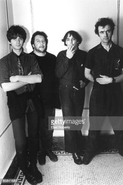 UNITED STATES JANUARY 01 Photo of STRANGLERS and JJ BURNEL and Jet BLACK and Dave GREENFIELD and Hugh CORNWELL Posed group portrait LR Jean Jacques...