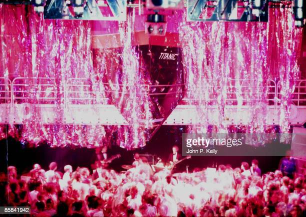 STUDIO 54 Photo of STUDIO 54 model of Titanic above stage with clubbers dancing below circa 1975