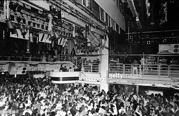 STUDIO 54 Photo of STUDIO 54 view of club showing dancefloor and balcony area above circa 1975