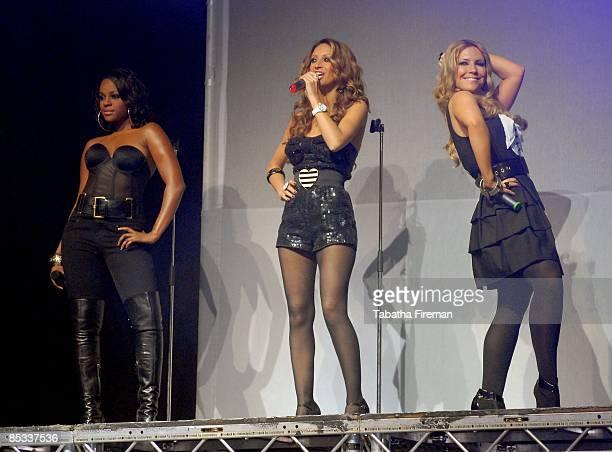 FESTIVAL Photo of SUGABABES and Keisha BUCHANAN and Amelle BERRABAH and Heidi RANGE Group performing on stage LR Keisha Buchanan Amelle Berrabah and...
