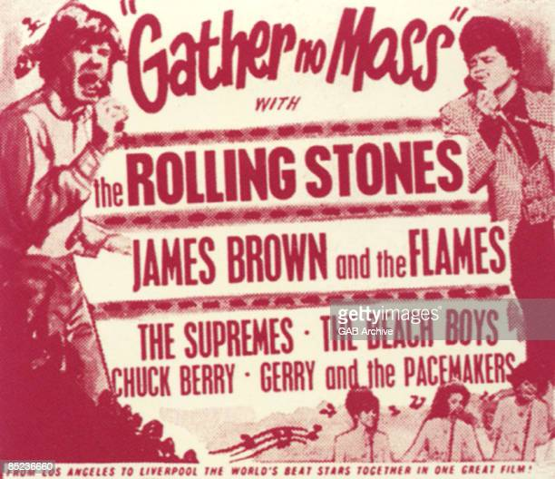 Photo of SUPREMES and FILM POSTERS and ROLLING STONES and James BROWN Gather No Moss film poster for the UK release of the TAMI show featuring James...