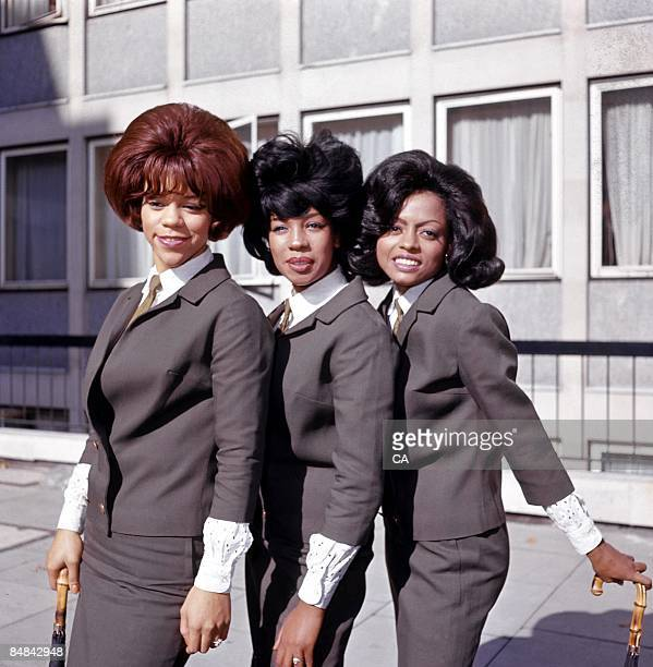 SQUARE Photo of SUPREMES and Florence BALLARD and Diana ROSS and Mary WILSON Posed group portrait outside Manchester Square Florence Ballard Mary...