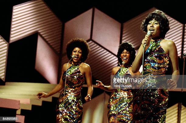 STUDIO Photo of SUPREMES and Lynda LAURENCE and Jean TERRELL and Mary WILSON Group performing on stage LR Lynda Laurence Jean Terrell and Mary Wilson