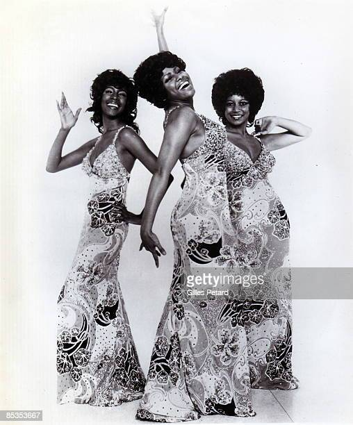 Photo of SUPREMES and Lynda LAURENCE and Mary WILSON and Jean TERRELL Posed group portrait full length LR Mary Wilson Jean Terrell and Lynda Laurence