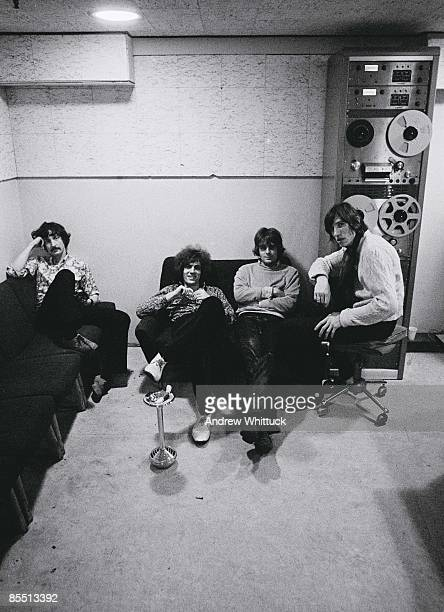 Photo of Syd BARRETT and PINK FLOYD and Roger WATERS and Rick WRIGHT LR Nick Mason Syd Barrett Rick Wright Roger Waters posed group shot in recording...