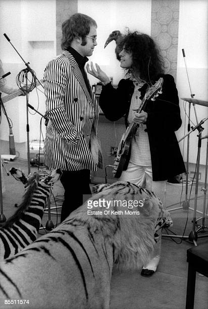 Photo of T REX and Elton JOHN and Marc BOLAN; with Elton John filming 'Born To Boogie' at Ascot Sound Studios - the recording studio at John Lennon's...