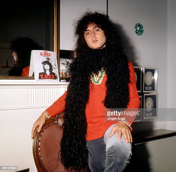 Photo of T REX and Marc BOLAN; in Marc's office