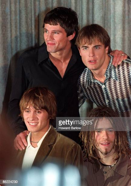 Photo of TAKETHAT; ARTIST - TAKE THAT, VENUE - MANCHESTER hotel at announcement of split, DATE - 1995?