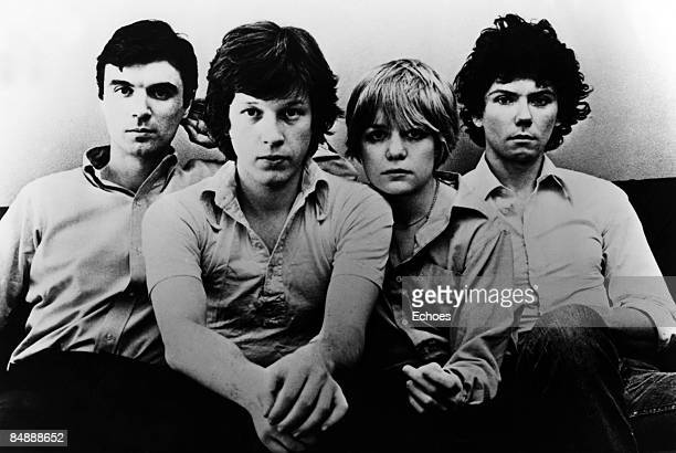 Photo of TALKING HEADS Posed group portrait LR David Byrne Chris Frantz Tina Weymouth and Jerry Harrison