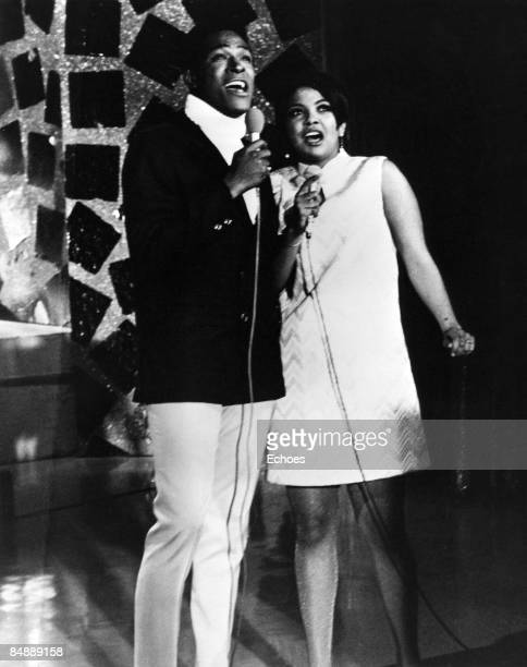 Photo of Tammi TERRELL and Marvin GAYE, Marvin Gaye performing live on stage with Tammi Terrell