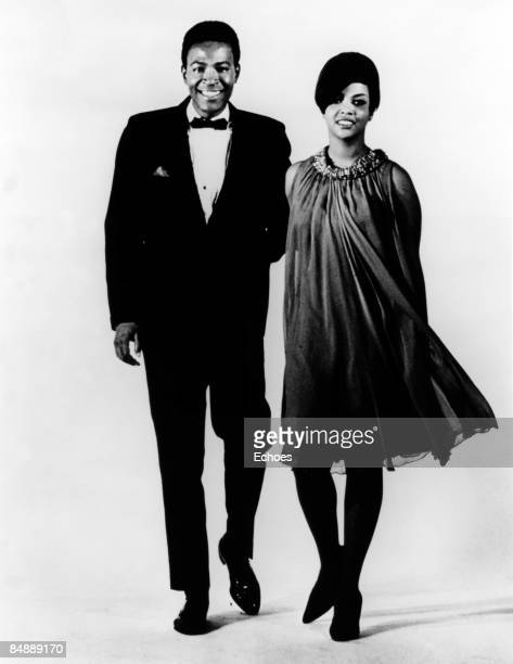 Photo of Tammi TERRELL and Marvin GAYE; Posed studio of Marvin Gaye with Tammi Terrell circa 1967