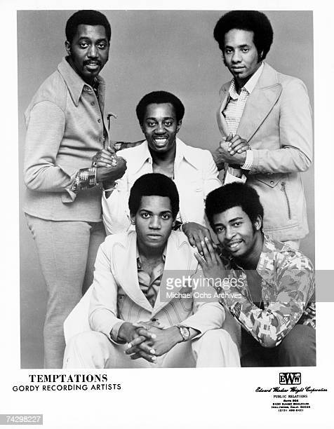 Photo of Temptations Back row Otis Williams Melvin Franklin Richard Street front row Damon Harris and Dennis Edwards