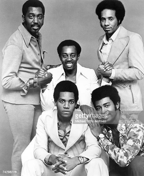 Photo of Temptations. Back row: Otis Williams, Melvin Franklin, Richard Street, front row: Damon Harris and Dennis Edwards.
