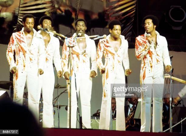 Photo of TEMPTATIONS; L-R: Melvin Franklin, Dennis Edwards, Otis Williams, Damon Harris, Richard Street - performing live onstage