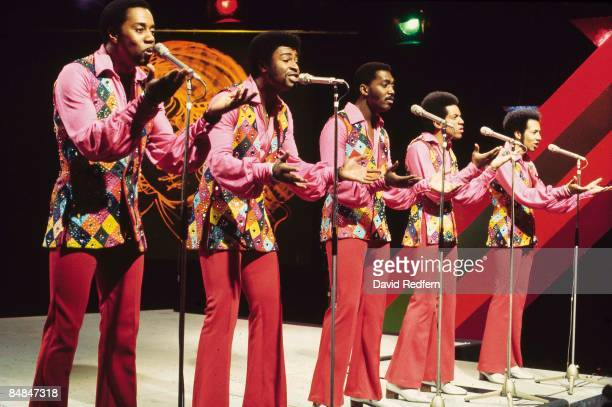Photo of TEMPTATIONS, L-R: Melvin Franklin, Dennis Edwards, Otis Williams, Damon Harris, Richard Street - performing on TV Show