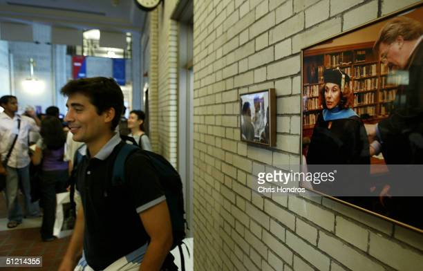 A photo of Teresa Heinz Kerry receiving an honorary degree hangs in the hallway of the H John Heinz III School of Public Policy and Management at...