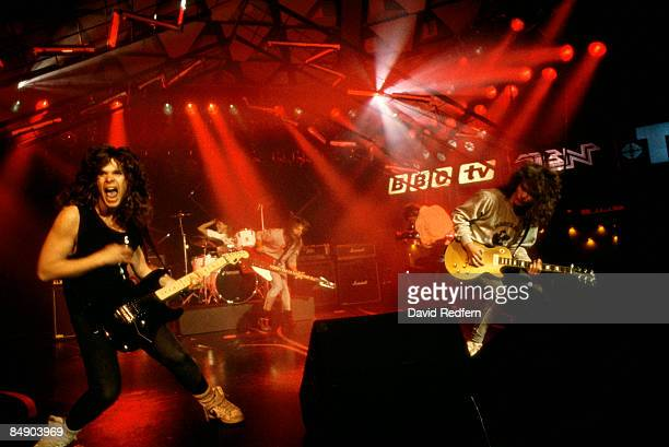 CENTRE Photo of TESLA and Jeff KEITH Jeff Keith and Frank Hannon performing on tv show