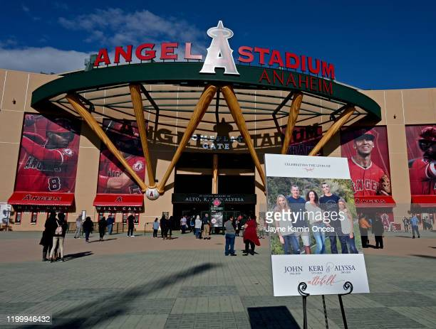 A photo of the Altobelli family is displayed outside the front entrance to Angel Stadium of Anaheim for a memorial service honoring baseball coach...