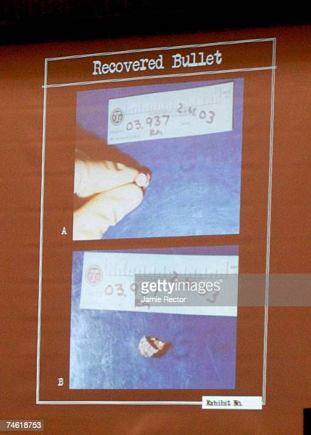 A photo of the ammunition that was in recovered from Phil Spector's home during the investigation of the death of Lana Clarkson is projected and...