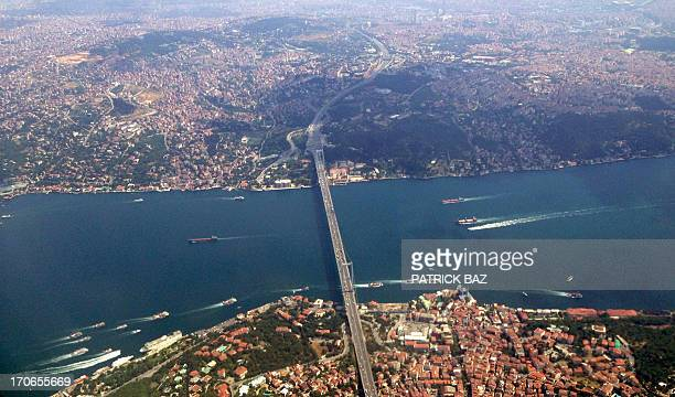 A photo of the Bosphorus strait and Istanbul's Asian and European shores taken from the window of a commercial plane flying on June 16 2013 AFP PHOTO...