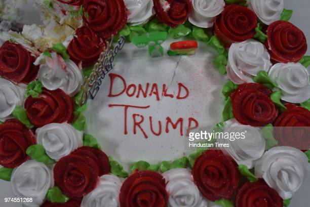 A photo of the Donald Trump's birthday cake at a hall in MP's Club North Avenue where Hindu Sena members celebrate Trump's birthday on June 14 2018...