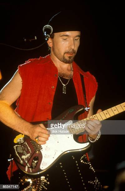 COURT Photo of THE EDGE and U2 The Edge performing live onstage on Zoo TV tour playing Fender Stratocaster guitar