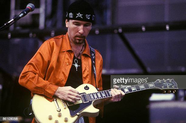 NETHERLANDS Photo of THE EDGE and U2 The Edge performing live onstage on Zoo TV Zooropa tour playing Gibson Les Paul guitar
