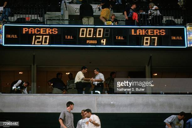 Photo of the final score board between the Los Angeles Lakers and Indiana Pacers during Game Five of the 2000 NBA Finals on June 16, 2000 at Conseco...