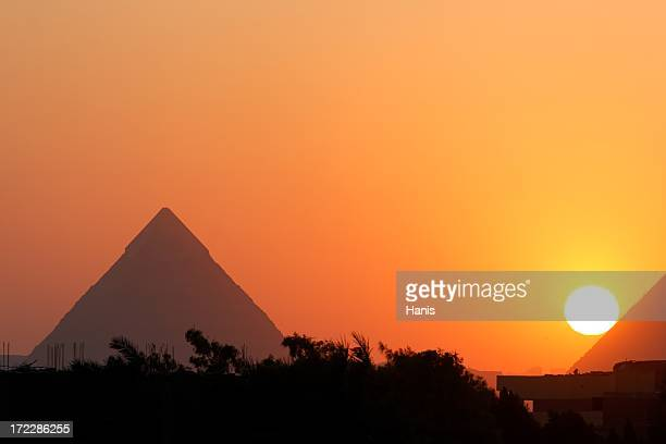 Photo of the Giza pyramids, Egypt, in the sunset