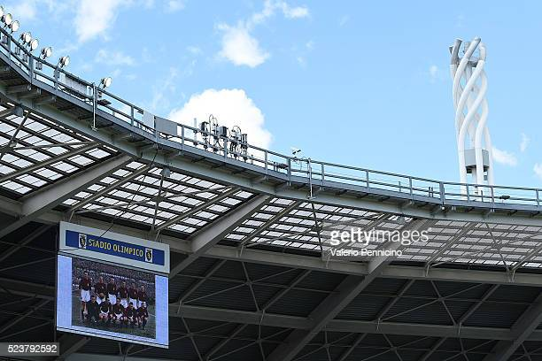 A photo of the Grande Torino is displayed during the Serie A match between Torino FC and US Sassuolo Calcio at Stadio Olimpico Grande Torino on April...