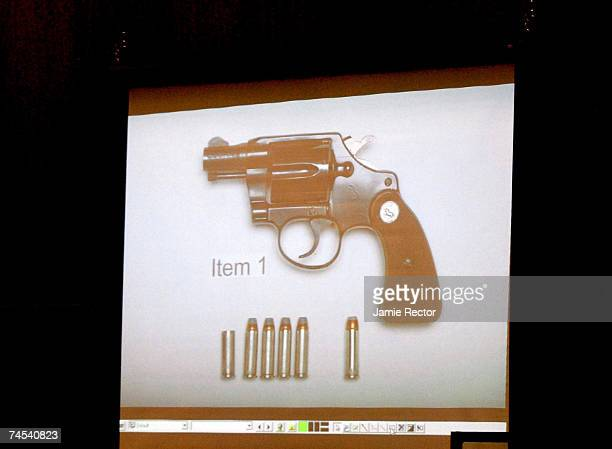 Photo of the gun used in the death of actress Lana Clarkson in shown during the trial of music producer Phil Spector June 11, 2007 in Los Angeles,...