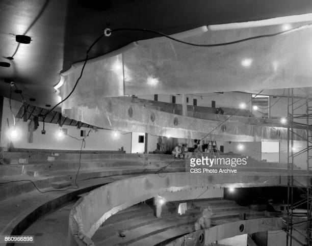 Photo of the interior and exterior of the New York State Theater under construction at Lincoln Center. The photo used for the CBS television special,...