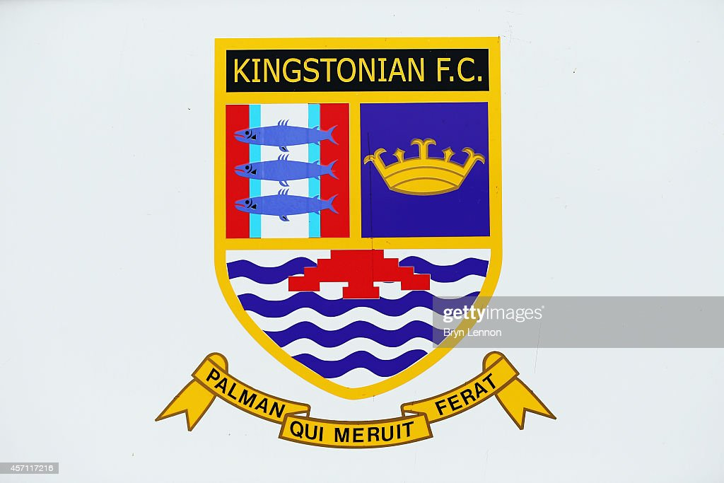 A photo of the Kingstonian club crest prior to the FA Cup Qualifying Third Round match between Kingstonian and Eastbourne Borough at The Cherry Red Records Stadium on October 12, 2014 in Kingston upon Thames, England.